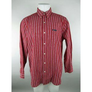 Chaps Easy Care Cotton Blend Striped Red Shirt
